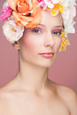 Girl with flowers in hair Royalty Free Stock Photo