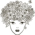 Girl with flowers hair, coloring page anti-stress