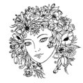 Girl with flowers in her hair. Vector.