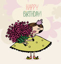 Girl with flowers a huge bouquet of birthday card eps Royalty Free Stock Photos
