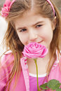 Girl flowers pretty girl pleasantly surprise Royalty Free Stock Image