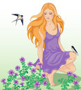 Girl, flowers and swallows