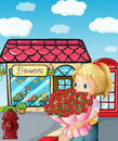 A girl from the flowershop illustration of Royalty Free Stock Image