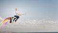 Girl fly on broom happy young woman flying in sky Royalty Free Stock Photo