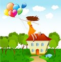 Girl flying with balloons. Vector Stock Photo