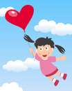 Girl flying with heart balloon cute in a blue sky a shaped useful also as a greeting card for st valentines or saint valentine s Stock Image
