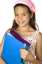 Girl with folders, ready for school. Stock Photos