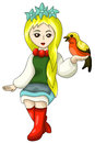 Girl folk bird character cartoon style illustration white pretty long haired blond young holding a vector done in on a background Royalty Free Stock Images