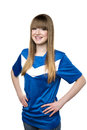 Girl in football shirt blue isolated on white background Stock Image
