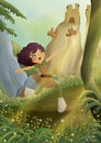 Girl in the forest digital painting of a cute smiling running with birds on an enchanted fairytale path Royalty Free Stock Image