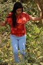 A girl in the forest enjoying nature in Mumbai India