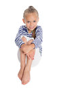 Girl in the form of a sailor boy Royalty Free Stock Photo