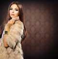 Girl in fox fur coat beauty fashion model Royalty Free Stock Images