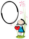 Girl frame little with red heart in her hands and big Royalty Free Stock Image