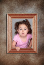 Girl and framework Royalty Free Stock Photo