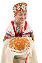 Girl with fresh loaf Royalty Free Stock Photos