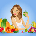 Girl With Fresh Vegetables. He...