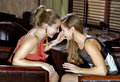Girl-friends at restaurant Stock Images