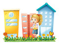 A girl in front of the buildings with a garden illustration on white background Royalty Free Stock Photography