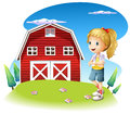 A girl in front of the red barnhouse in the hilltop illustration on white background Stock Photography