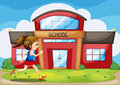 A girl in front of the school building illustration Stock Images