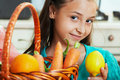 The girl with fruit and vegetables Stock Photos
