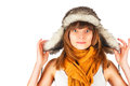 Girl in a fur hat isolated on white background Stock Photography