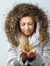 Girl in fur hood Royalty Free Stock Photos