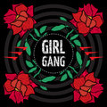 Girl Gang - fashion patche or badge. Vector sticker, pin or patches in vintage punk style. T-shirt apparels print for girls.