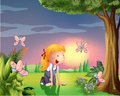 A girl in the garden with four butterflies illustration of Stock Photo