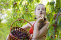 Girl in garden with a sweet cherry basket young Royalty Free Stock Images