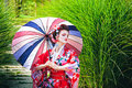 Girl in geisha costume with an umbrella Royalty Free Stock Photo