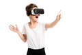 Girl getting experience using vr glasses of virtual reality happy woman headset at home much gesticulating hands Stock Photos