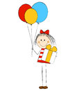 Girl with gift and balloons Royalty Free Stock Image