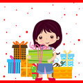 Girl and gift box Royalty Free Stock Photography