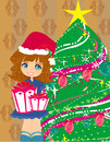 Girl with gift box near by christmas tree cute Royalty Free Stock Photo