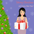 Girl with gift box near christmas tree illustration of happy next to of card Royalty Free Stock Images