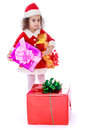 Girl with a gift in their hands Royalty Free Stock Photo