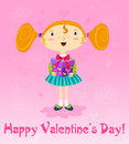 Girl with gift valentines day card vector Stock Photo
