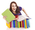 Girl in glasses with stack book . Stock Image