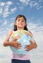 Girl with Globe Royalty Free Stock Photos