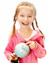 image photo : Girl with a globe of the world