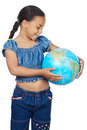 Girl with a globe of the world Royalty Free Stock Images