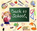 Girl goes back to school colorful vector illustration with little background set of tools and chalkboard Royalty Free Stock Images