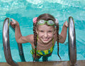 Girl in goggles leaves pool. Royalty Free Stock Images