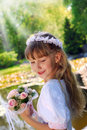 Girl going to the first holy communion Royalty Free Stock Photo