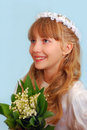 Girl going to the first holy communion Royalty Free Stock Photography