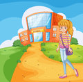 A girl going to the school illustration of Royalty Free Stock Photos