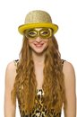Girl in golden mask isolated on the white Stock Images