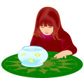 Girl with Goldfish Bowl Stock Photo